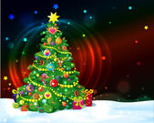 Christmas tree with shining lights and stars — Stock Vector