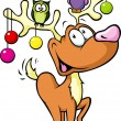Stock Vector: Funny reindeer with christmas balls and birds sitting on antlers isolated on white background