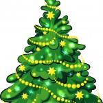 Illuminated Christmas Tree isolated on white background — Stock Vector