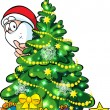 Santa Claus hidden behind a shining christmas tree — Imagen vectorial
