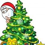 Santa Claus hidden behind a shining christmas tree — Stock Vector