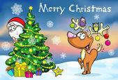 Merry Christmas greeting card, santa claus hidden behind e tree and reindeer vector illustration — Stock Vector