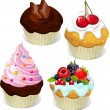 Stock Vector: Cupcakes and muffins different flavors and colors isolated on white background