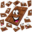 Milk chocolate cartoon with many expression isolated on white background  — Stock Vector