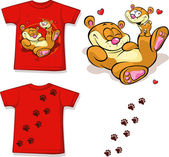 Kid shirt with cute bear printed - isolated on white, back and front view — Stock Vector