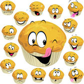 Muffin cartoon with many expression isolated on white background — Vector de stock
