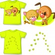 Kid shirt with cute cat and dog printed - isolated on white, back and front view — Stock Photo