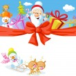 Christmas design with Santa Claus, gifts, xmas tree, snowman and funny reindeer — Stock Photo