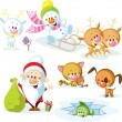 Santa Claus with snowman, cute Christmas animals - reindeer, cat, dog, bird and fish — Stock Photo