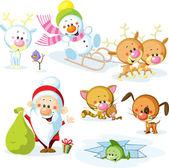 Santa Claus with snowman, cute Christmas animals - reindeer, cat, dog, bird and fish — 图库照片