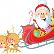 Santa Sleigh and Reindeer isolated on white background — Stock Photo #36090561