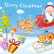 Merry Christmas design with Santa Claus Sleigh, Christmas Tree, Snowman and Cute Animal — Stock Photo