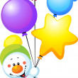 Snowman flying with colorful balloons — Foto Stock
