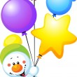 Stock Photo: Snowman flying with colorful balloons