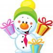 Stock Photo: Little snowman with gift isolated on white background
