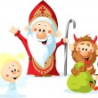 Saint Nicholas, devil and angel - vector illustration isolated on white background — Stock Vector #36356679