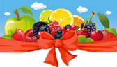 Vector horizontal design with fruit, bow and blue sky — Stock Vector