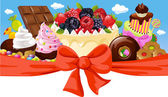 Horizontal design with sweet food - cake, chocolate, ice cream and candy — Vetorial Stock