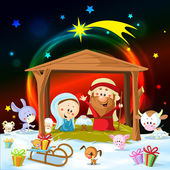 Christmas nativity with lights and cute animals — Wektor stockowy