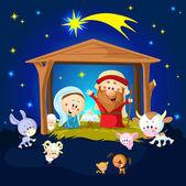 Nativity in Bethlehem with animals - Christmas vector illustration — Stock Vector