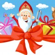 Saint Nicholas, devil and angel - vector illustration isolated on white background — Stock Vector