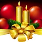 Christmas horizontal design with candle, xmas ball and bow — Stock Vector