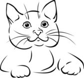 Vector cat - black outline illustration — Stock Vector