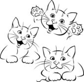 Vector cat playing - black outline illustration — Stock Vector