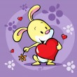 Cute bunny hold heart - vector cartoon illustration — Stock Vector