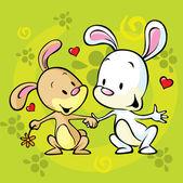 中爱的兔子 — 图库矢量图片
