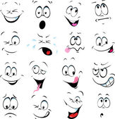 Illustration of cartoon faces on a white background — Stock Vector