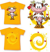 Kid shirt with cute cow printed - isolated on white, back and front view — Stock Vector