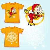 Camiseta niño con skater - vuelta y vista frontal — Vector de stock