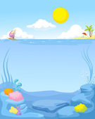 Sommaren havet bakgrund - vektor illustration — Stockvektor