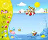 Summer holiday website design with funny background — Stock vektor