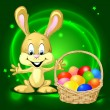 Easter bunny with a basket full of colorful eggs on green background — Stock Vector #45460479
