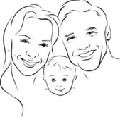 Happy family - black outline illustration — Stock Vector