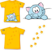 Kid shirt with cute cat peeking printed - isolated on white, back and front view — Stock Vector