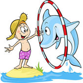 Child playing with dolphin - cute vector illustration - dolphin jump  through the ring — Stock Vector