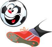 Foot kicking funny soccer ball isolated - vector illustration — Vecteur