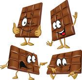 Chocolate cartoon with hand gesturing — Stock Vector