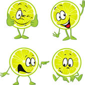 Lime cartoon with hands isolated on white background — Stock Vector