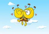 Bee in love kissing - cute illustration — Cтоковый вектор