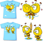 Kid shirt with cute bees - isolated on white, back and front view — Wektor stockowy