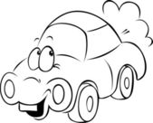 Funny car cartoon - black outline — Stock Vector