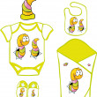 Cute Baby Layette with cute caterpillar and butterfly - vector illustration — Stock Vector #50321487