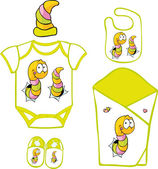 Cute Baby Layette with cute caterpillar and butterfly - vector illustration — Stok Vektör