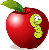 Illustration of Cartoon Worm In Red Apple — Stock Vector