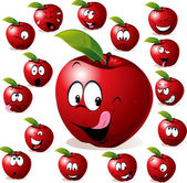 Red apple with many expressions — Stock Vector
