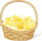 Vector basket fool of cheese isolated on white background — Stock Vector